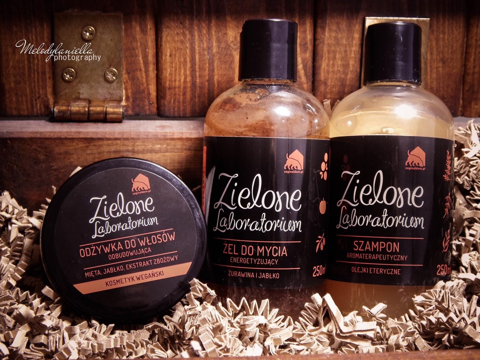 zielone laboratorium odżywka do włosów odbudowująca kosmetyki wegańskie żel do mycia szampon aromaterapeutyczny kosmetyki o mocnych zapachach olejki eteryczne kosmetyki naturalne melodylaniella home