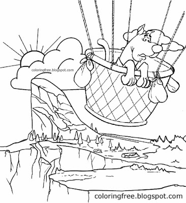 Mountain recreational area hot air balloon ride sad face Scooby Doo pictures to color and print off