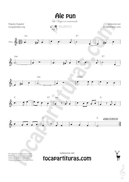 Oboe Partitura de Ale Pun Sheet Music for Oboe Music Score