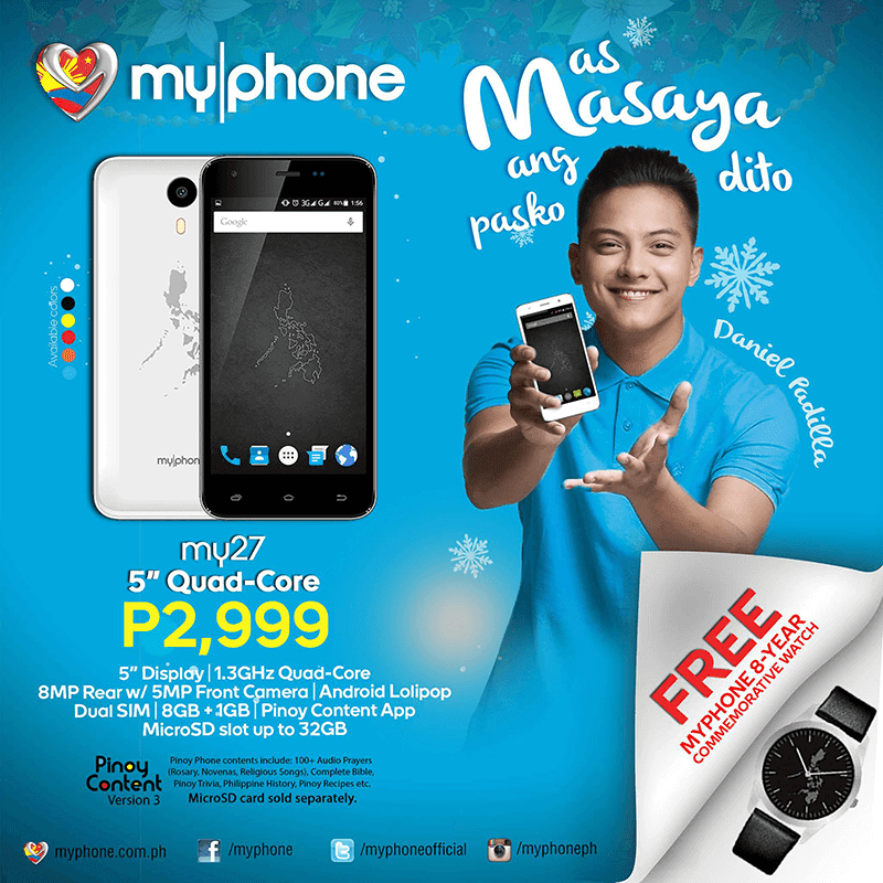 MyPhone My27 Goes Official: 5 Inch, Quad Core, 8 MP Cam And Free Commemorative Watch For 2999 Pesos Only!