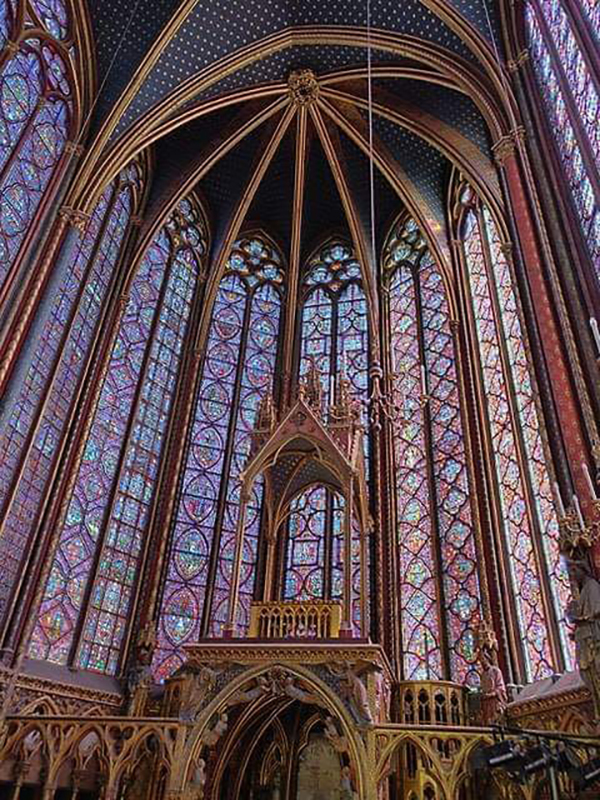 medieval stained glass windows at Sainte Chapelle