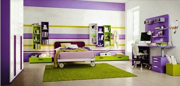 contoh kamar dengan warna cat yang cerah desain kamar modern