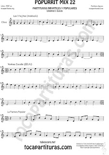 Partitura de Oboe  Yankee Doodley, Las 3 hojitas, La Pastora Mix 22 Sheet Music for Oboe Music Score