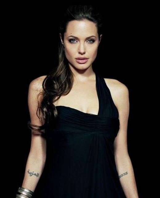 Angelina Jolie arabic tattoos on wrist