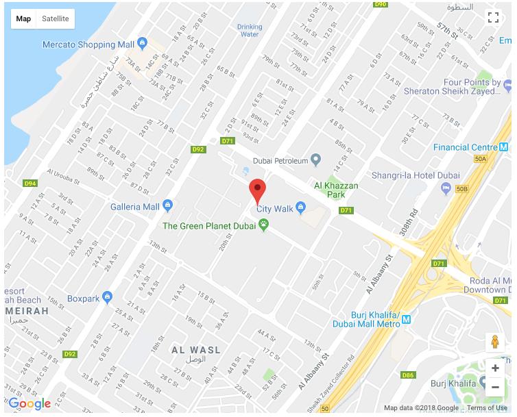 Location Map - City Walk Apartments Jumeirah Dubai on