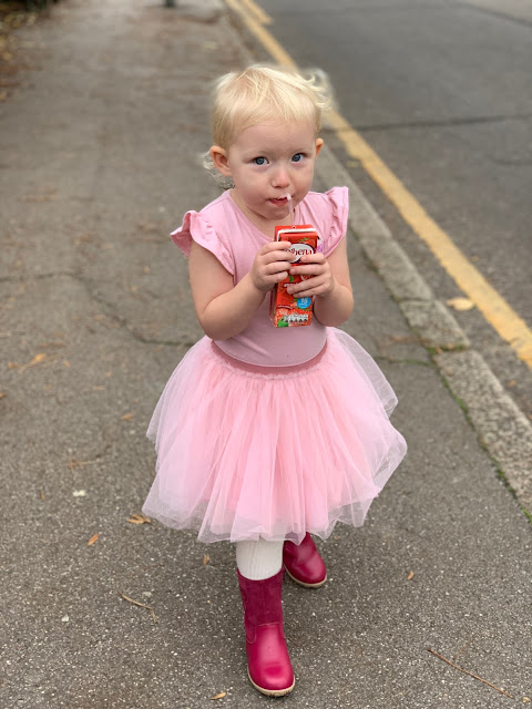 A toddler in a party dress and no coat despite it being really cold