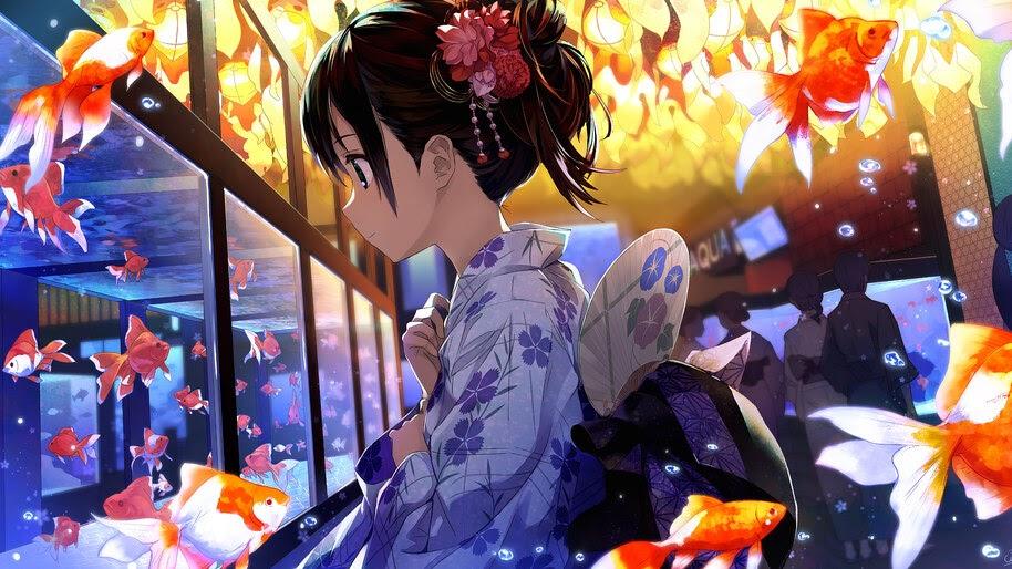Anime, Girl, Kimono, Gold Fish, Flying, Fantasy, 4K, #300