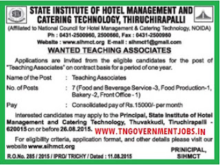 Applications are invited for Faculty Members vacancy in SIHMCT Trichy under contract basis