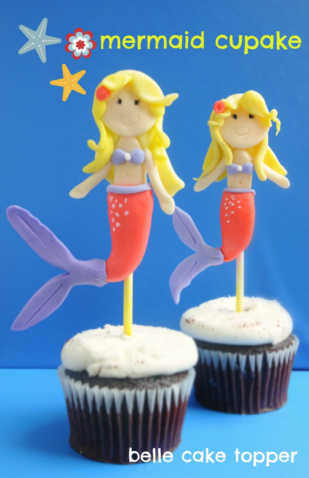 Belle Cake Topper And Mould Mermaid Cupcake
