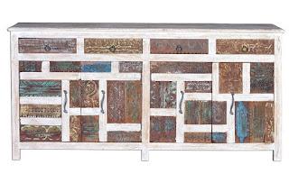 Aparador 4 Puertas 4 Cajones Madera Colores Desgastados Balion