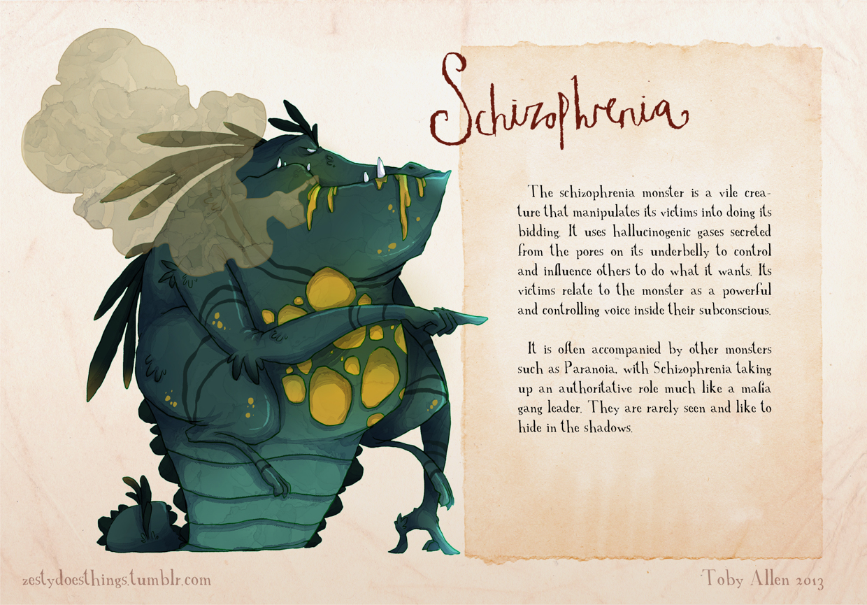 13-Schizophrenia-Toby-Allen-Monster-Illustrations-to-Embody-Mental-Illness-www-designstack-co