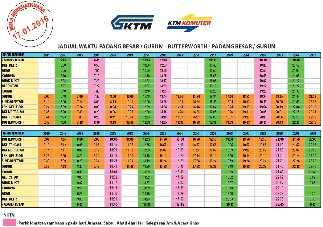 Jadual Perjalanan KTM Komuter Utara Terkini Mulai 17 Januari 2016