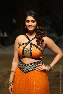 Surabhi looks stunning in Orange Ghagra Sleeveless Choli at Okka Kshanam Movie Song Making