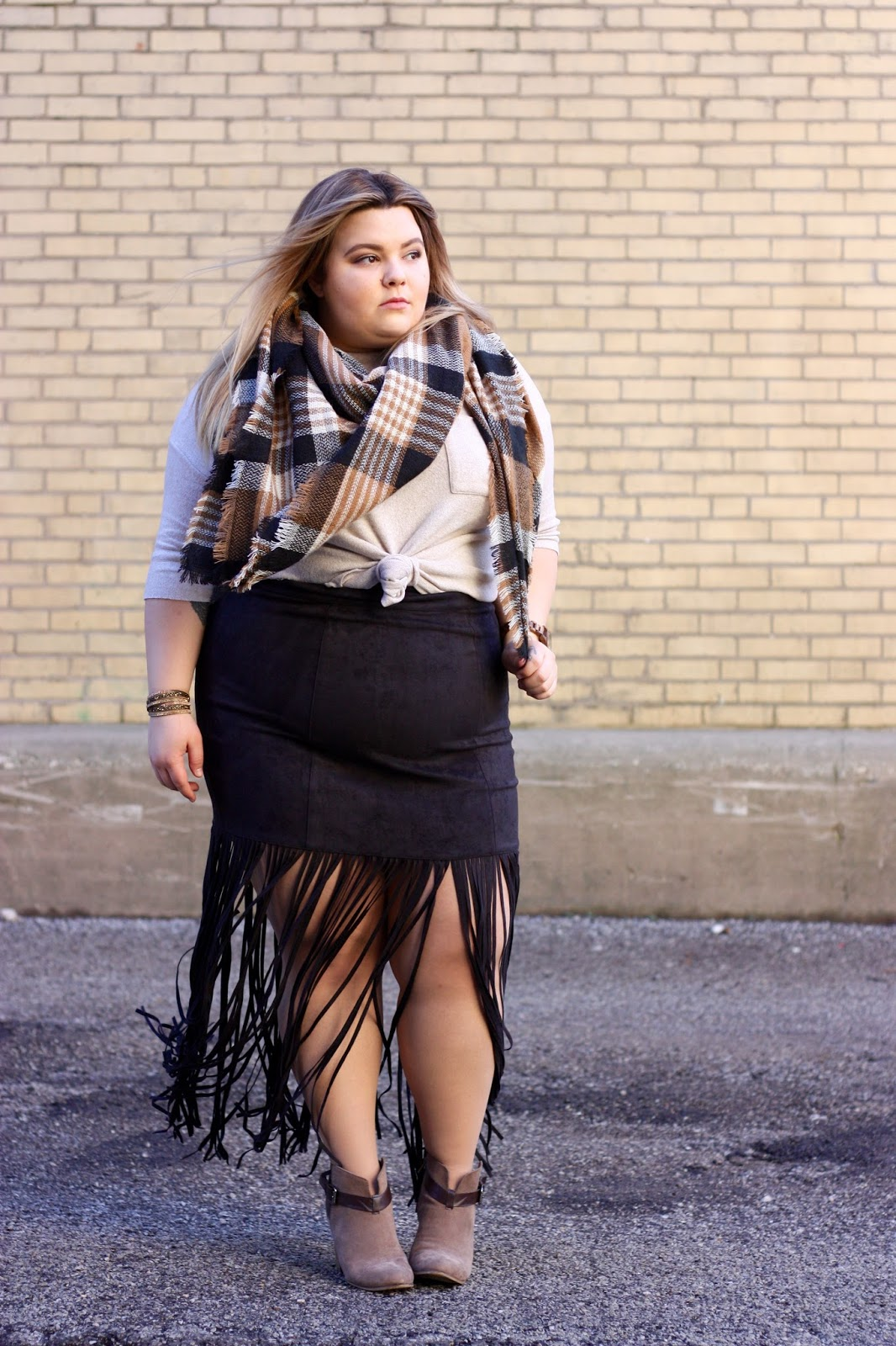 Jord Watches, womens wood watches, natalie craig, natalie in the city, fashion to figure, fringe, plus size fringe skirt, plus size fashion blogger, chicago blogger, midwest blogger, full figured, ft., blanket scarf,