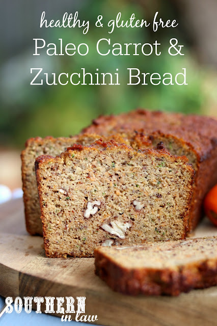 Healthy Paleo Carrot Zucchini Bread Recipe - low fat, gluten free, low sugar, refined sugar free, low carb, dairy free, grain free