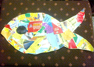 Collage fish by kids