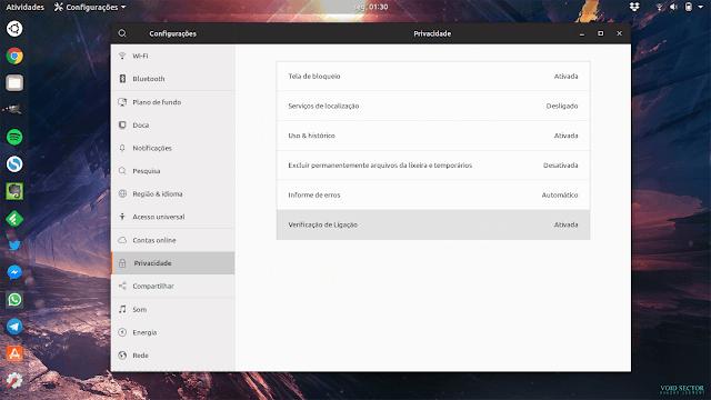Configurações de privacidade no Ubuntu