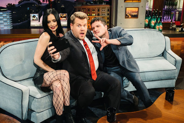 Photos of Krysten Ritter in shorts at Late Late Show with James Corden in New York