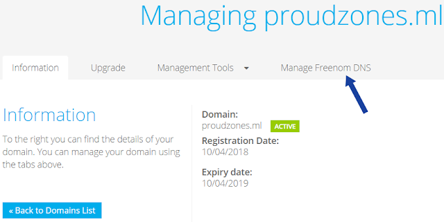 Adding free domain name