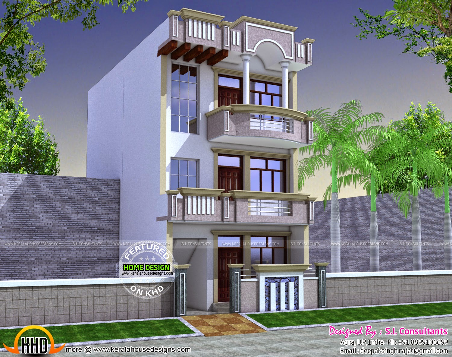 22x60 house plan kerala home design and floor plans for Indian house outlook design