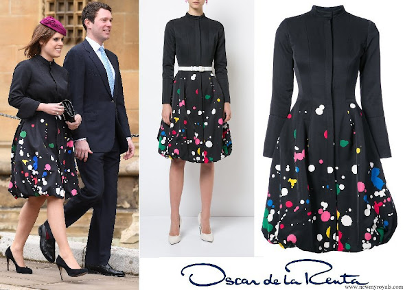 Princess Eugenie wore OSCAR DE LA RENTA paint splattered buttoned dress
