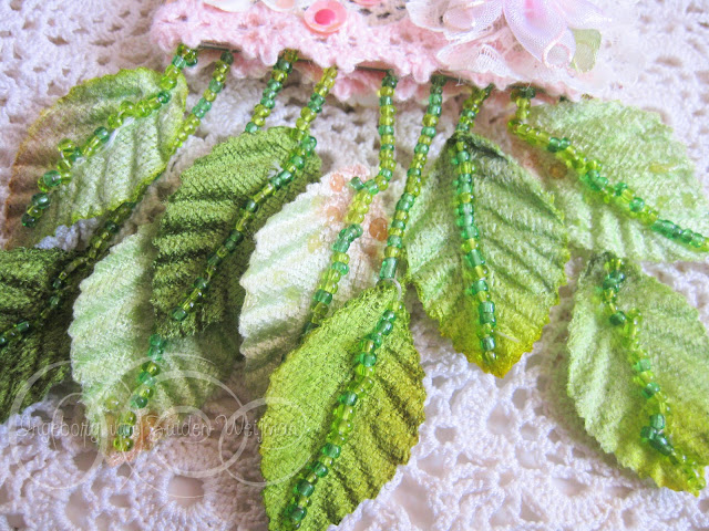 Embroidered fabric leaves