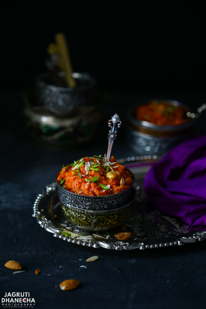 Gajar halwa, a sumptuous winter delicacy which is prepared with fresh carrots, milk and sugar, enriched with rich and warm nuts and cardamom
