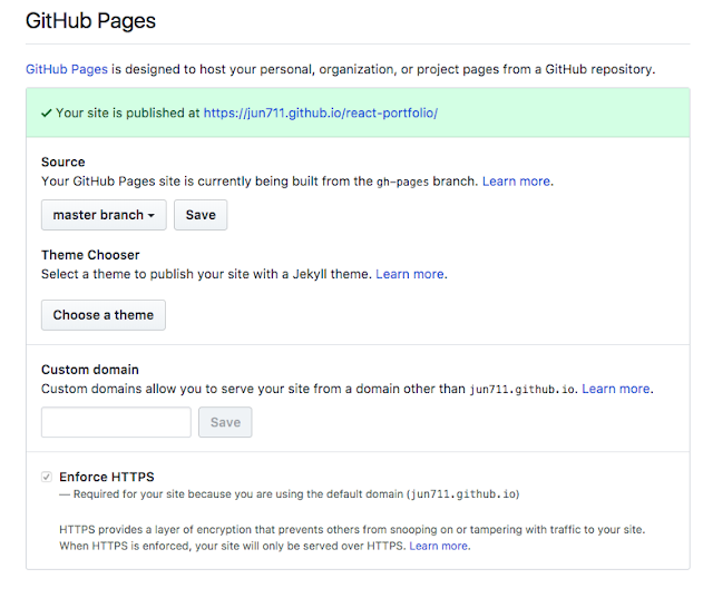GitHub Pages setting
