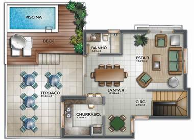 Plantas modernas de casas de 3 quartos for Casa moderna 2 andares 3 quartos