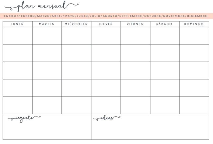 planificador organizador semanal mensual descargar