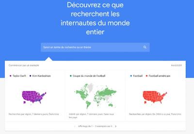 الصفحة الرئيسية لموقع خدمة اتجاهات قوقل Google Trends