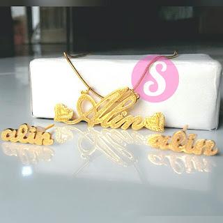 set kalung & anting lapis emas grafir - alin
