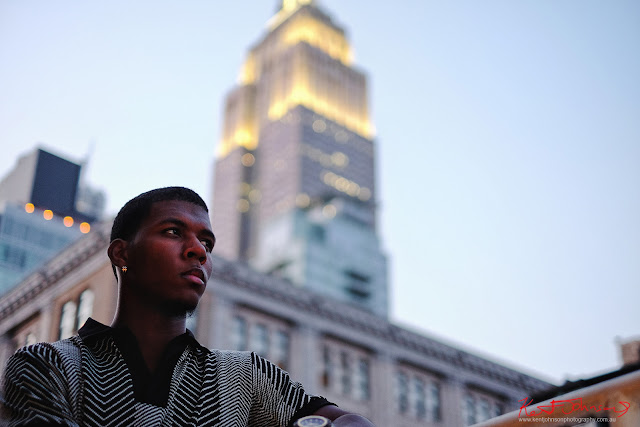 On dusk, penthouse terrace Manhattan, Empire State building in the background - Menswear photoshoot at at The Roger Hotel NYC for fashion label Mario&Lee. Photography by Kent Johnson.