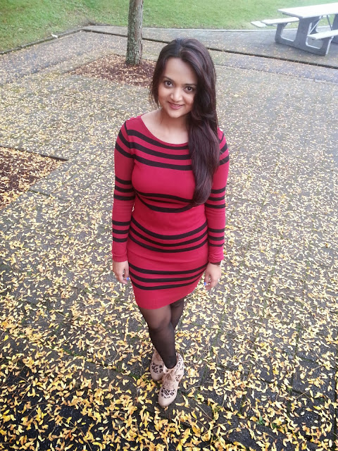 sweater with stripes, sweater dresses, indian girl wearing sweater dress for fall, seattle fall fashions, stylish dresses in winter