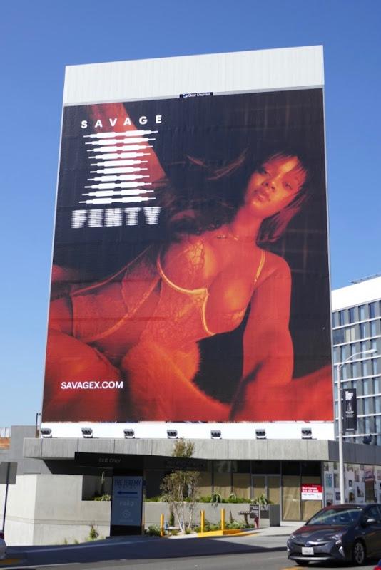 Giant Rihanna Savage X Fenty lingerie billboard