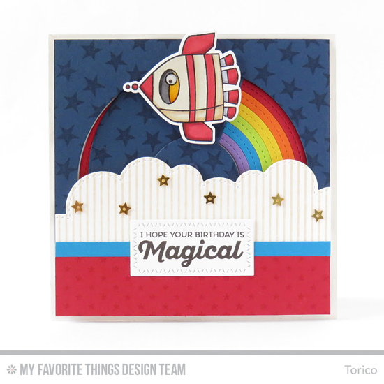 Magical Birthday Card by Torico featuring the Out of This World stamp set and Die-namics, rainbow of Happiness stamp set, Starry Night Background Builder, Tiny Stars, and Pinstripe Background, and the Stitched Rainbow and Stitched Cloud Edges Die-namics #mftstamps