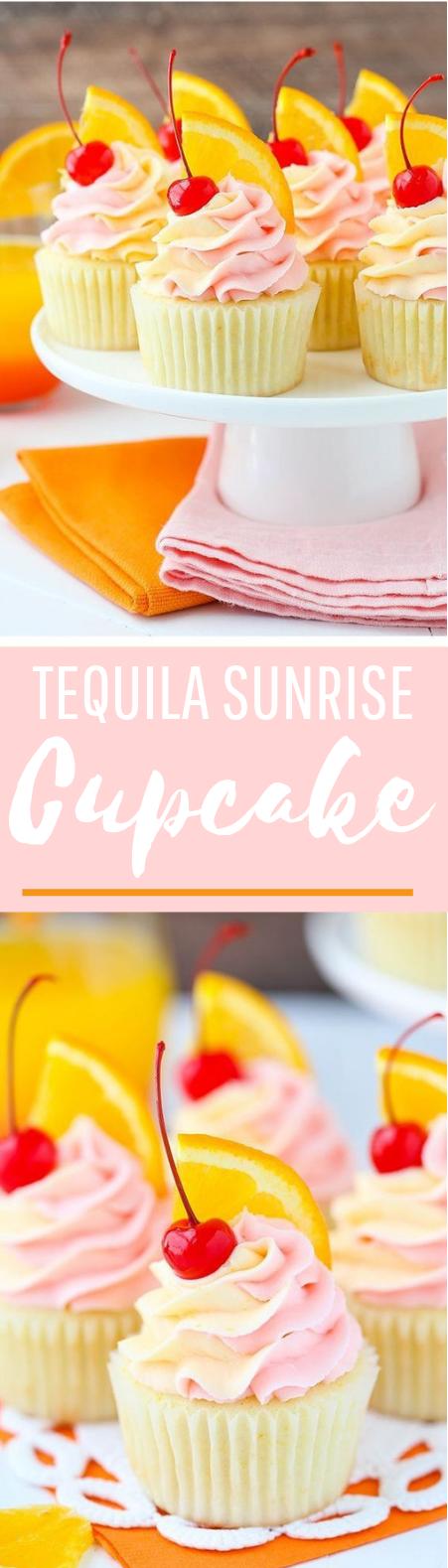 Tequila Sunrise Cupcakes #desserrt #summer