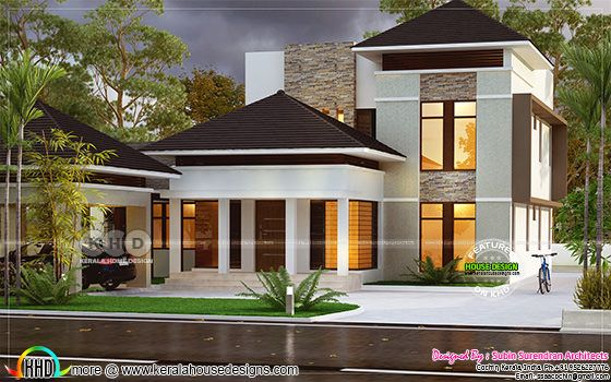 2250 square feet 4 bedroom villa architetcure