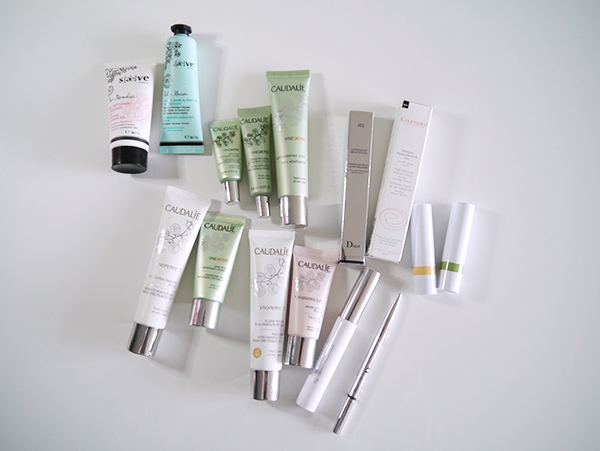 Skincare and beauty shopping haul from Paris featuring Saeve, Caudalie, Avene, Dior