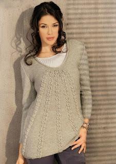 Бежевый расклешенный пуловер