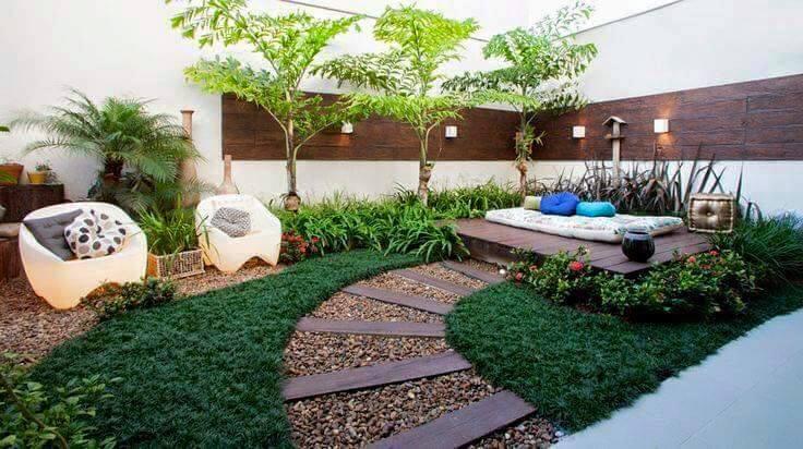 Construindo minha casa clean jardim simples e bonito Ideas para muros de jardin