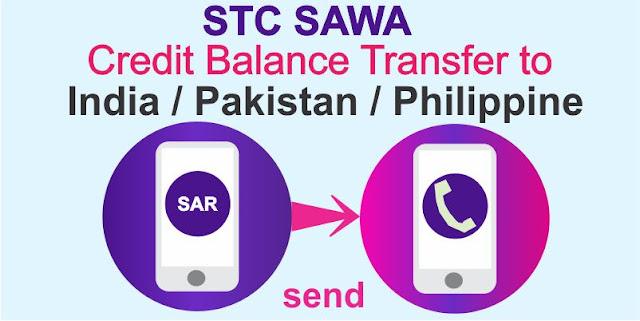 Transfer STC SAWA Credit balance to India Pakistan Philippine