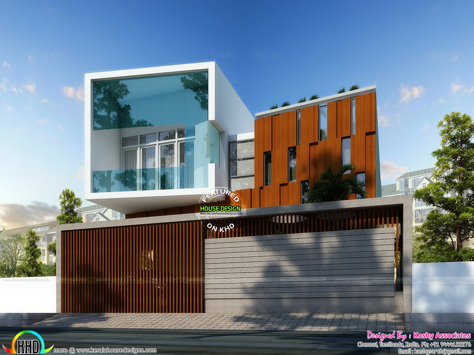 Cute ultra modern house architecture kerala home design for Modern triplex house designs