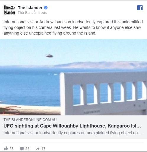 Chụp được UFO ngoài hành tinh ở đảo Kangaroo, nước Úc