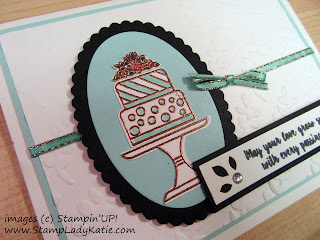 Card made with Stampin'UP!'s Piece of Cake stamp set and Cake Builder Punch by StampLadyKatie