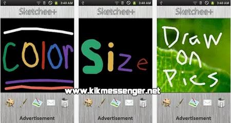 Crea textos de colores usando pinceles con Sketchee Plus para Kik