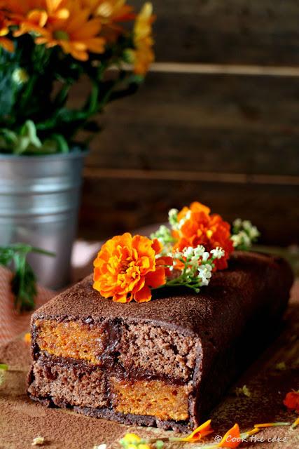 Battenberg-cake, pastel-Battenberg-de-zanahoria