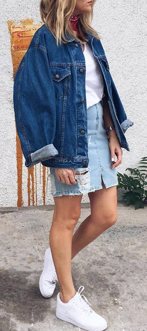 denim outfit idea: jacket + top + skirt + sneakers