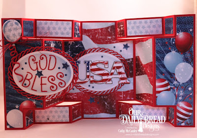 Our Daily Bread Designs Stamp: USA, Paper Collection: Stars and Stripes, Custom Dies: Double Display Card, Double Display Layers, Alphabet, Sparkling Stars, Layered Lacey Ovals, Ovals, Balloons and Streamers