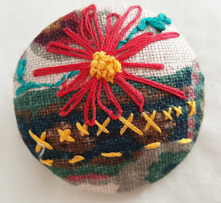 Embroidered brooch using vinatge fabric
